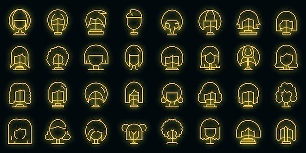Pruik pictogrammenset neon vector
