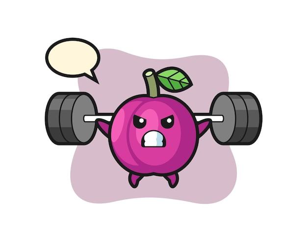 Pruim fruit mascotte cartoon met een barbell, schattig stijlontwerp voor t-shirt, sticker, logo-element