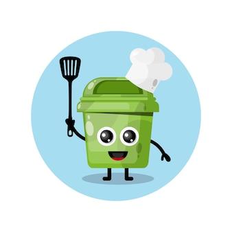 Prullenbak chef-kok mascotte karakter logo