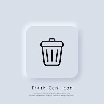 Prullenbak icoon. verwijder knop. vuilnis mand. vector eps 10. ui-pictogram. neumorphic ui ux witte gebruikersinterface webknop. neumorfisme
