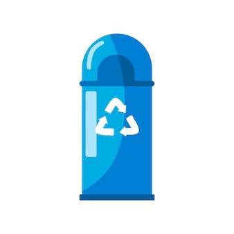 Prullenbak pictogram. pijlen recyclen eco-symbool. platte vector ontwerp illustratie geïsoleerd op een witte achtergrond