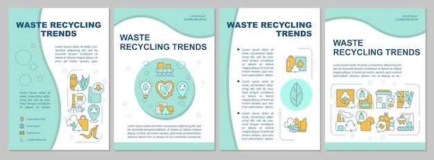 Prullenbak recycling trends brochure sjabloon. afvalbeheerproces. flyer, boekje, folder afdrukken, omslagontwerp met lineaire pictogrammen. vectorlay-outs voor presentatie, jaarverslagen, advertentiepagina's
