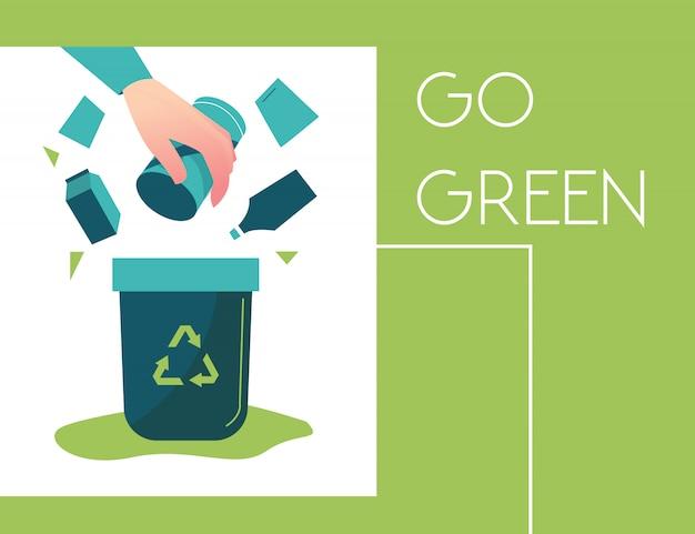 Prullenbak wordt groen, fietst, redt de planeet, wereldmilieudag, biotechnologie
