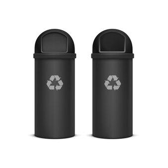 Prullenbakken voor afval en vuilnis geïsoleerd