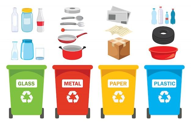 Prullenbakken voor plastic, metaal, papier en glas