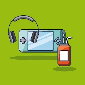 Psp gaming-hoofdtelefoons en energiedrank kunnen