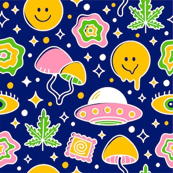 Psychedelisch naadloos patroon. cartoon kawaii karakter illustratie pictogram ontwerp. trippy patroon concept