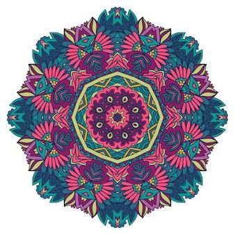 Psychedelische folkloristische stijl print mandala bloemkunst