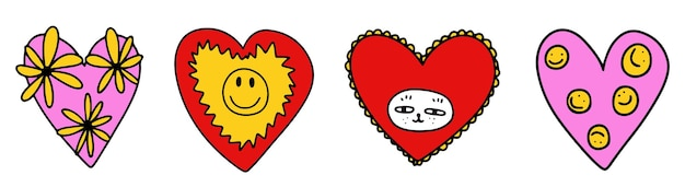 Psychedelische handgetekende valentijnset