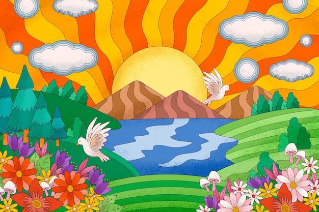 Psychedelische kleurrijke landschapsachtergrond