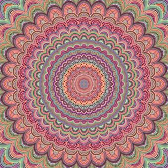 Psychedelische mandala ornament achtergrond - circulaire vector patroon ontwerp van concentrische ovale vormen