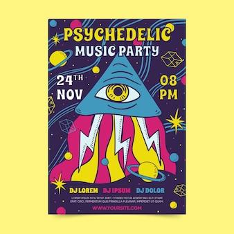 Psychedelische muziek partij sjabloon