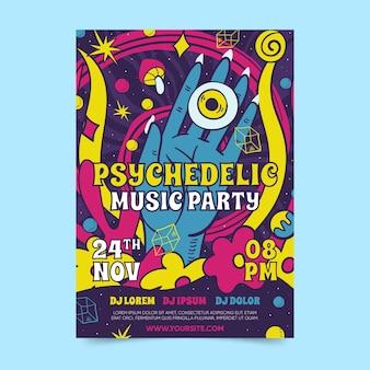 Psychedelische poster sjabloon