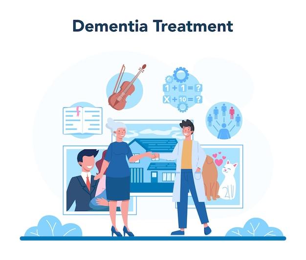 Psychiater concept. diagnostische geestelijke gezondheid. arts die dementie behandelt. psychologische ondersteuning. probleem met de geest.