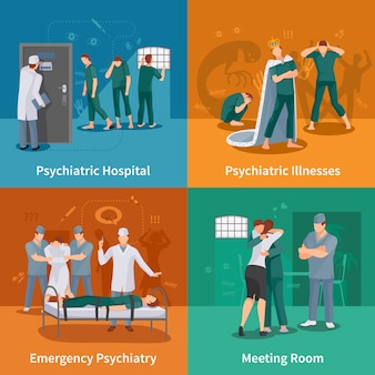 Psychiatrische ziekten concept icons set