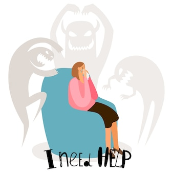 Psychische problemen, psychische stoornissen concept met huilende vrouw en angstgeesten
