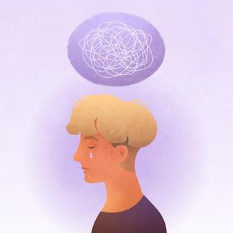 Psychische stoornissen vectorillustratie van triest jonge man portret met een zenuwinzinking gedachten