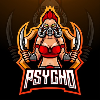 Psycho esport logo mascotte ontwerp