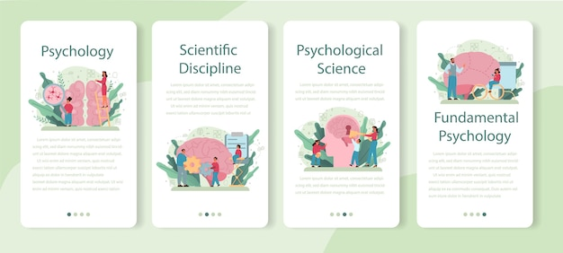 Psychologie banner set voor mobiele applicaties. mentale en emotionele gezondheid studeren. het bestuderen van de geest en het gedrag van de mens.