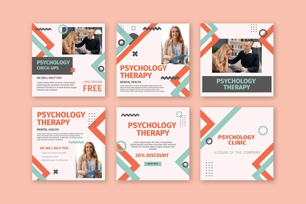 Psychologie instagram posts-collectie