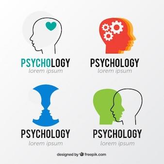 Psychologie logo's met het hoofd silhouetten