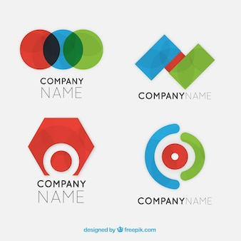 Psychologie logo's met kleurrijke geometrische vormen