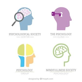 Psychologie logo's met menselijke hersenen