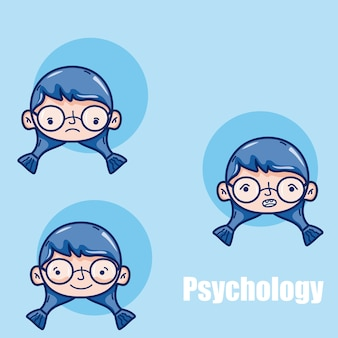 Psychologie voor grafische illustratie van de het beeldverhaal het vectorillustratie van het meisjesjonge geitje