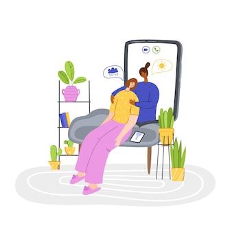 Psychologische dienst online, persoonlijke assistentie. boos meisje problemen huilen en bellen naar psycholoog