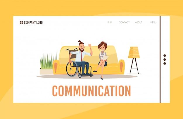 Psychologische hulp voor gehandicapten vector webpagina