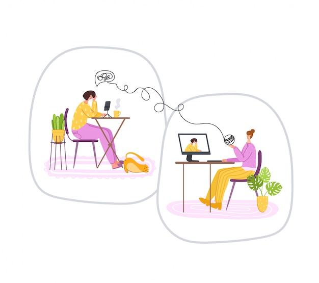 Psychologische online diensten - persoonlijke ondersteuning op afstand of hulp thuis via internet. boos meisje dat aan psycholoogarts luistert