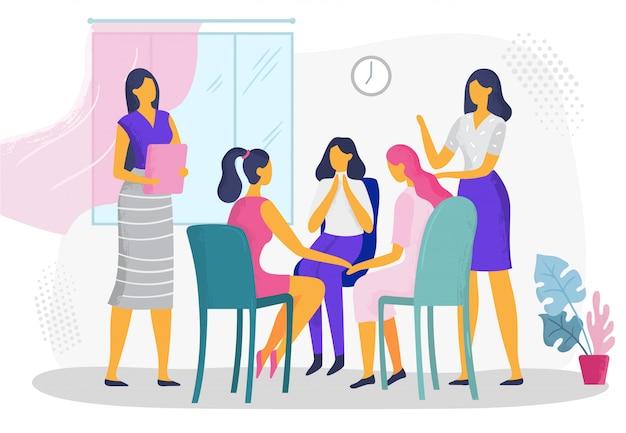 Psychologische therapie voor vrouwen. vrouwelijke psychotherapeutische steungroep, huiselijk geweld binnen het gezin die vectorillustratie adviseren