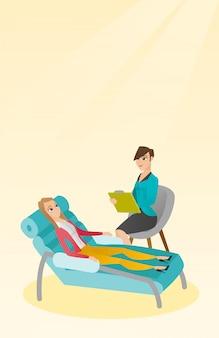 Psycholoog die zitting met patiënt heeft.