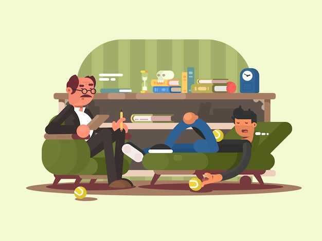 Psycholoog man op kantoor. de man bij de receptie bij de psychotherapeut van de dokter