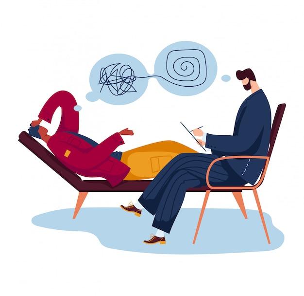 Psycholoog professionele hulp mannelijke karakter patiënt, man lag