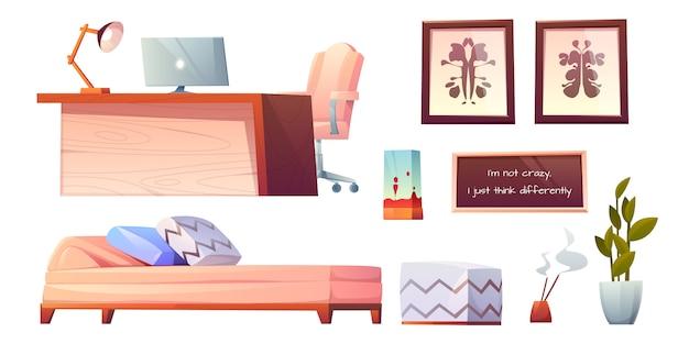Psycholoog psychotherapeut kantoor spullen glinsterende clip art