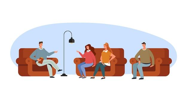 Psycholoog therapie mensen problemen verslaving concept, cartoon afbeelding instellen