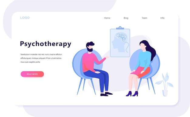 Psychotherapie concept. trieste man zittend op de stoel praten met vrouwelijke psycholoog. bezoek aan psychiater en behandeling van depressie. illustratie