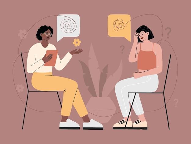Psychotherapie counseling met illustratie van de depressieve vrouw