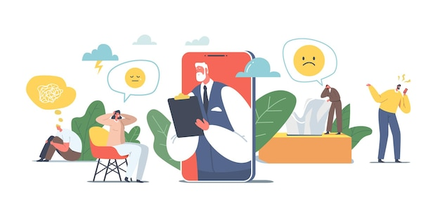 Psychotherapie hulplijn, online consultatie. depressief vrouwelijk personage en arts psycholoog op enorme mobiele telefoon scherm verre afspraak, help concept. cartoon mensen vectorillustratie