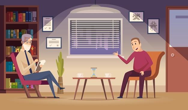 Psychotherapie. patiënt op sofa professionele psychotherapie dialoogsessie in kliniek interieur cartoon achtergrond.