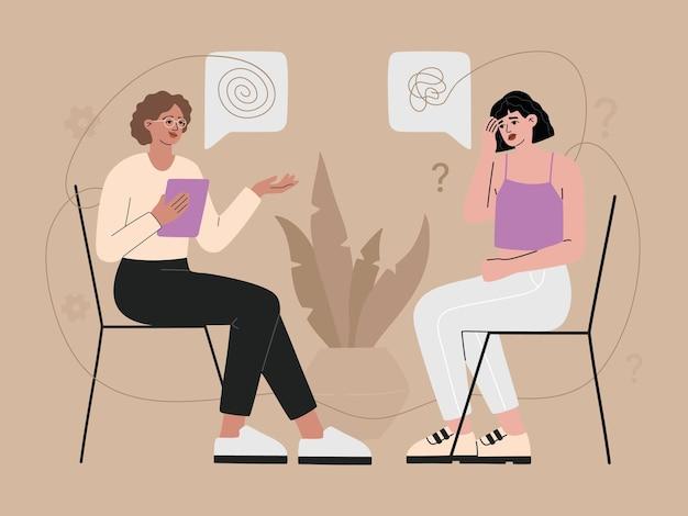 Psychotherapie praktijk concept. patiënt met depressie zitten en praten met psycholoog. geestelijke gezondheidsprobleem en stoornis, psychologische hulp, trendy illustratie in platte kartonnen stijl