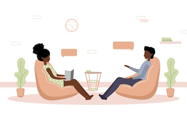 Psychotherapie praktijk en psychologische hulp. afrikaanse vrouw ondersteunt jongen met psychische problemen. therapie en counseling voor mensen met stress en depressie.
