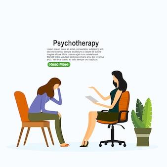 Psychotherapie praktijk, psychiater raadplegende patiënt. psychische stoornis behandeling. vector illustratie