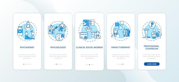 Psychotherapieberoepen onboarding mobiele app-paginascherm met concepten