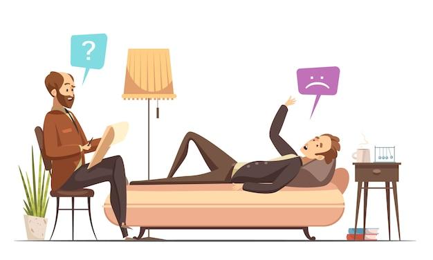 Psychotherapiezitting in therapeutkantoor met patiënt op bank die over zijn gevoelens retro kar spreken