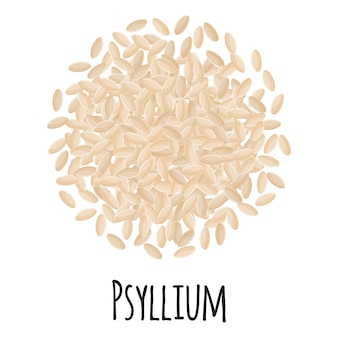 Psyllium voor het ontwerp, het etiket en de verpakking van de sjabloonboerenmarkt. natuurlijke energie-eiwit biologische superfood. vector cartoon geïsoleerde illustratie.