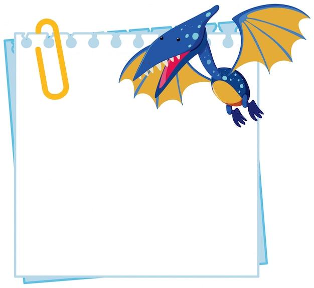 Pteranodon op notitiesjabloon
