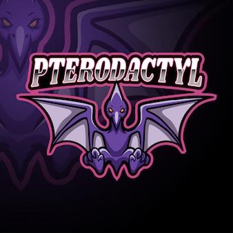Pterodactyl esport logo mascotte ontwerp