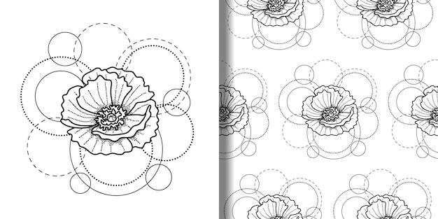 Ptint en naadloos patroon met klaproos en cirkels